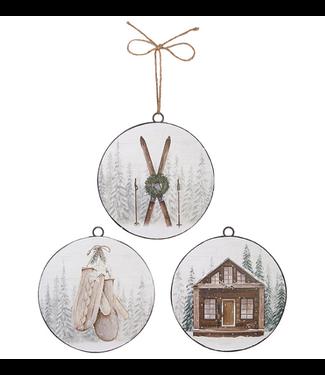 RAZ Ski Lodge Disc Ornament