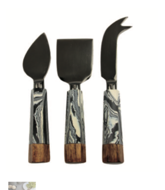 Be Home Zebra Marble & Wood w Onyx Cheese knife