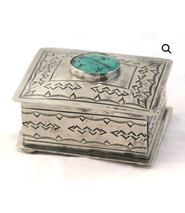 Small Stamped Box w/ Turquoise