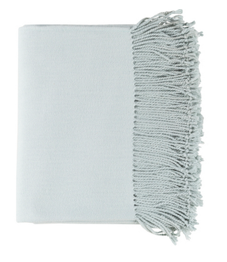 Surya Chantel Woven Silk Throw - Ice Blue
