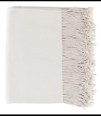 Surya Chantel Waven Silk Throw (Ivory/Birch) w/ Tassels - 50x60
