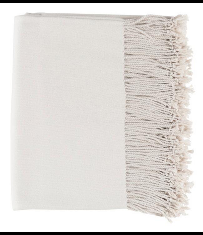 Chantel Woven Silk Throw - Ivory
