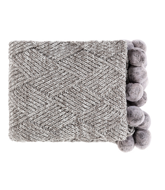 Surya Odella Knitted Throw w/ Pom Poms - 50x60