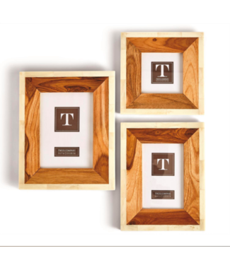 Two's Company Wood and Bone Photo Frame (4x4)