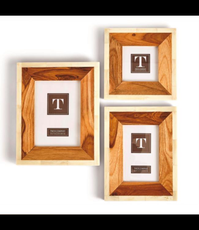 Wood and Bone Photo Frame (4x4)
