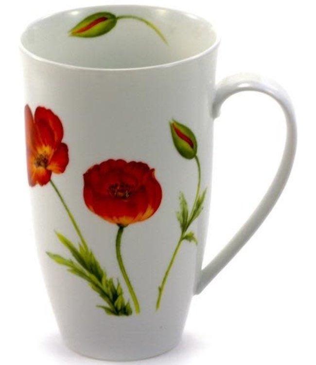 """Teaware Mug """"Poppy"""", 18oz Tall Porcelain"""