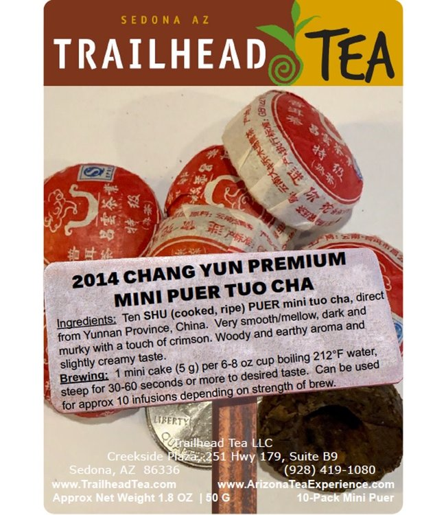 Tea from China 2014 ChangYun Premium Mini Puer Tuo Cha (COOKED/SHU, Package, 2.5oz, 10cakes