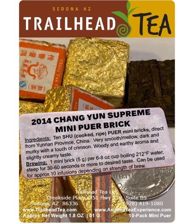 Tea from China 2014 ChangYun Supreme Mini Puer Brick (COOKED/SHU), Package, 1.8oz, 10bricks