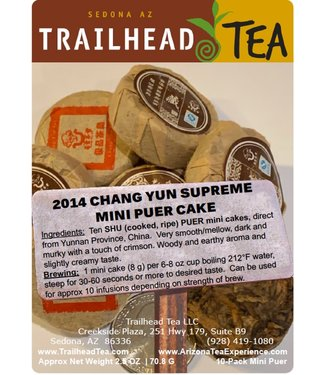 Tea from China 2014 ChangYun Supreme Mini Puer Cake (COOKED/SHU), Package, 2.5oz, 10cakes