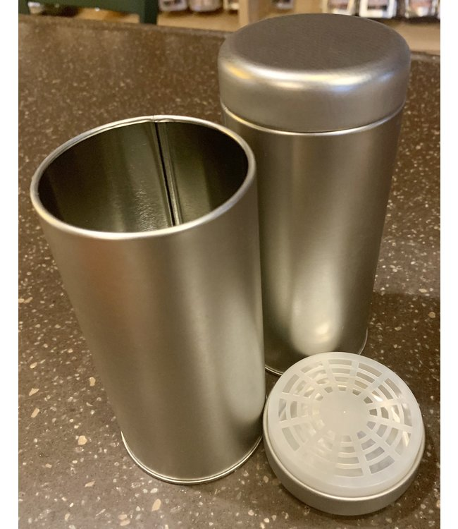 """Teaware Tall 6"""" Tin """"Glory"""" silver round with slip lid"""
