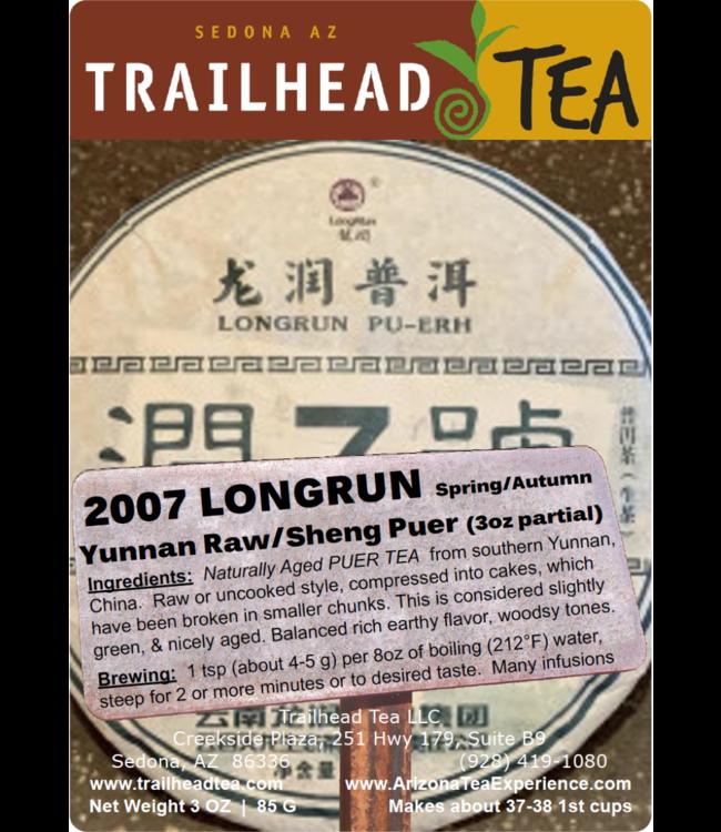 Tea from China 2007 Yunnan LongRun Spring/Autumn Blend Puer Cake (Raw/Sheng)