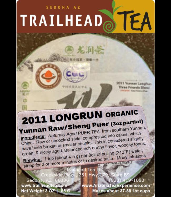 Tea from China 2011 Organic Yunnan LongRun Three Friends Blend Puer Cake (Raw/Sheng)
