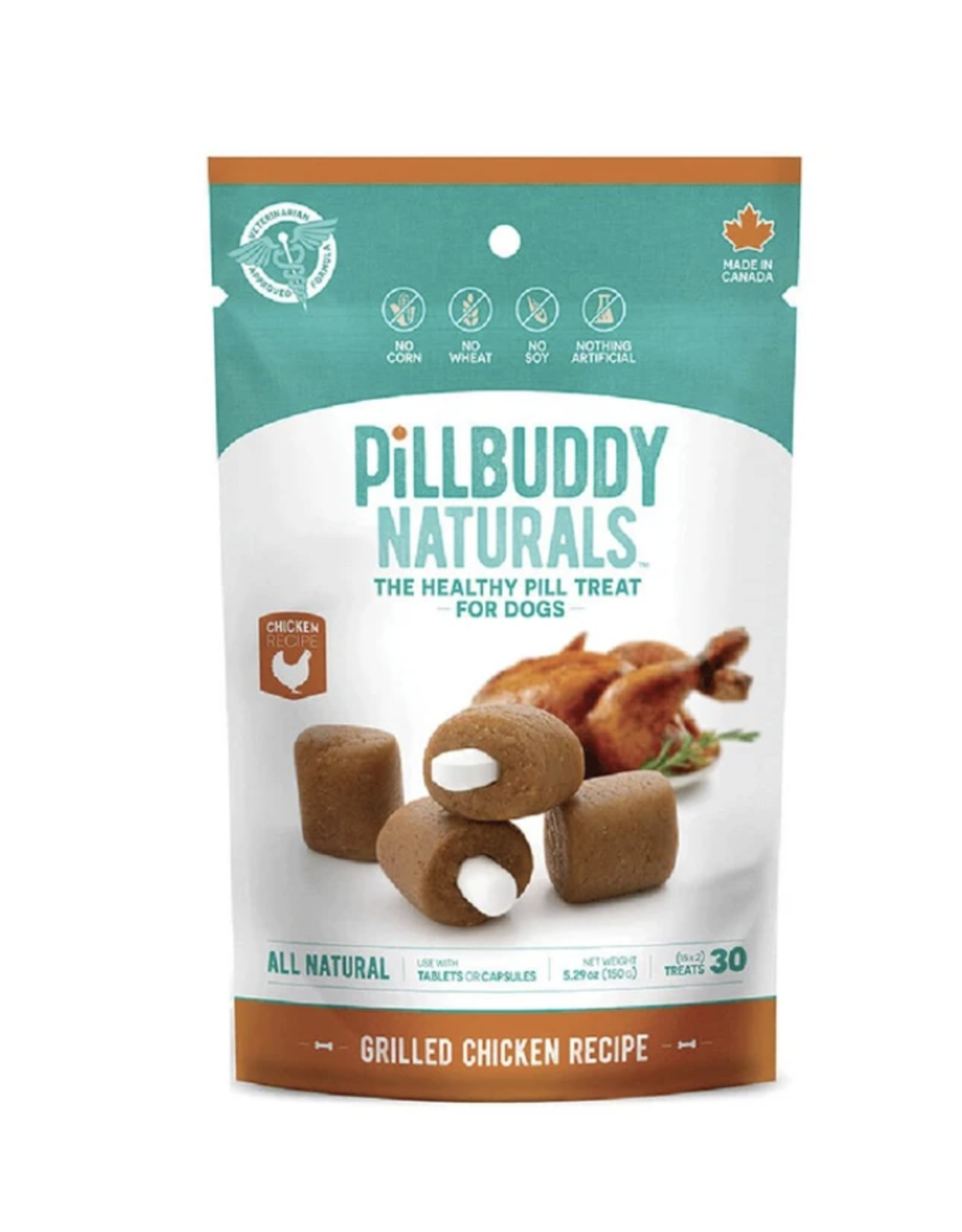 Presidio Natural  Pill Buddy Naturals - Soft and Chewy Dog Treats - Chicken 150G