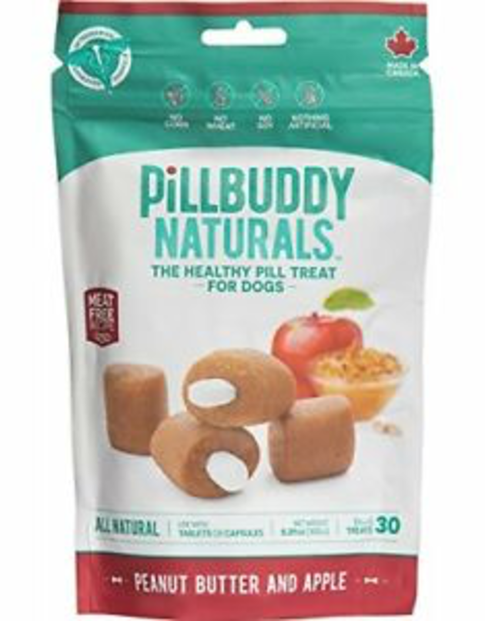 Presidio Natural Pill Buddy Naturals - Soft and Chewy Dog Treats - Peanut Butter and Apple -  150G