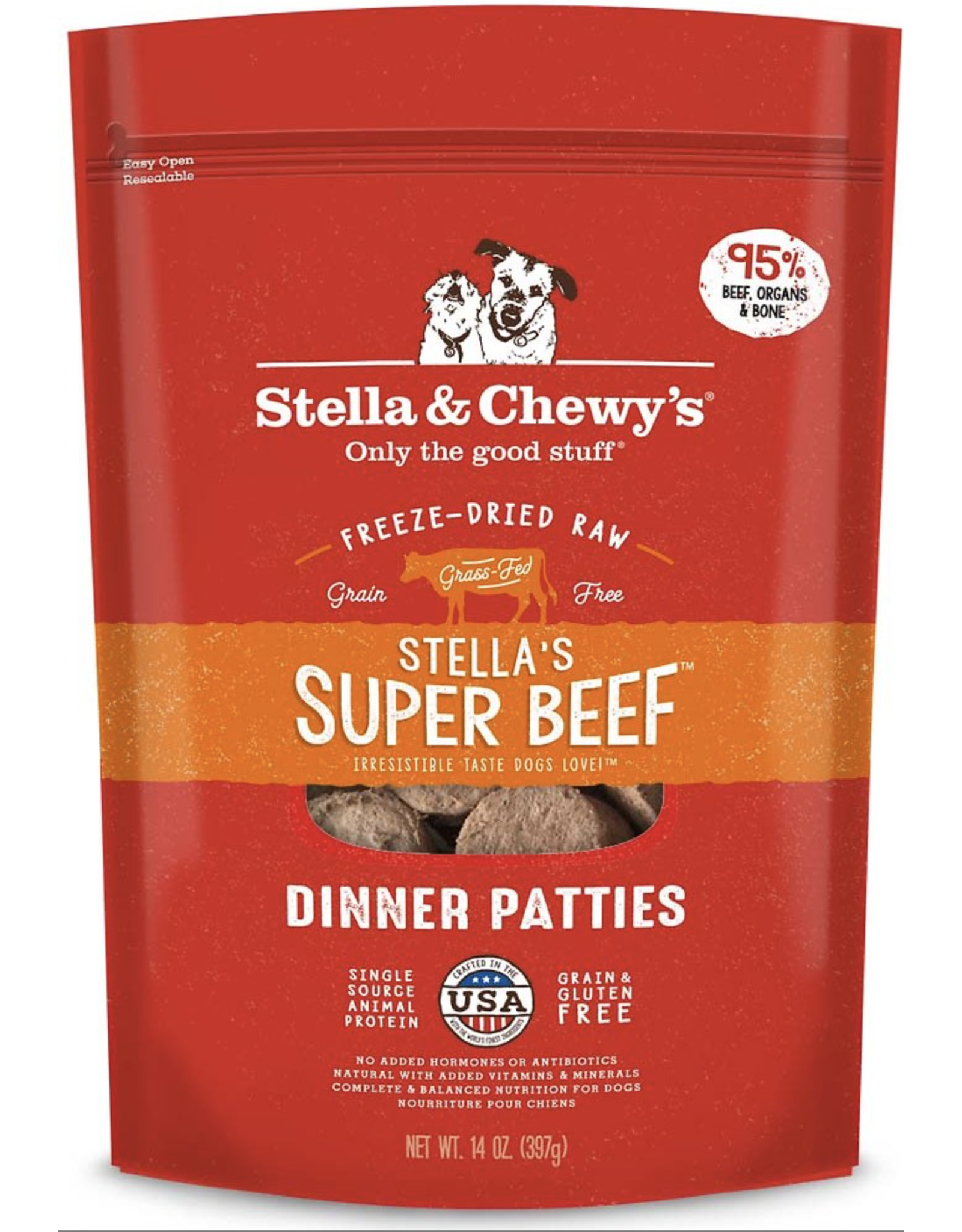 Stella & Chewys Stella & Chewy's Stella's Super Beef Dinner Patties Freeze-Dried Raw Dog Food 25OZ