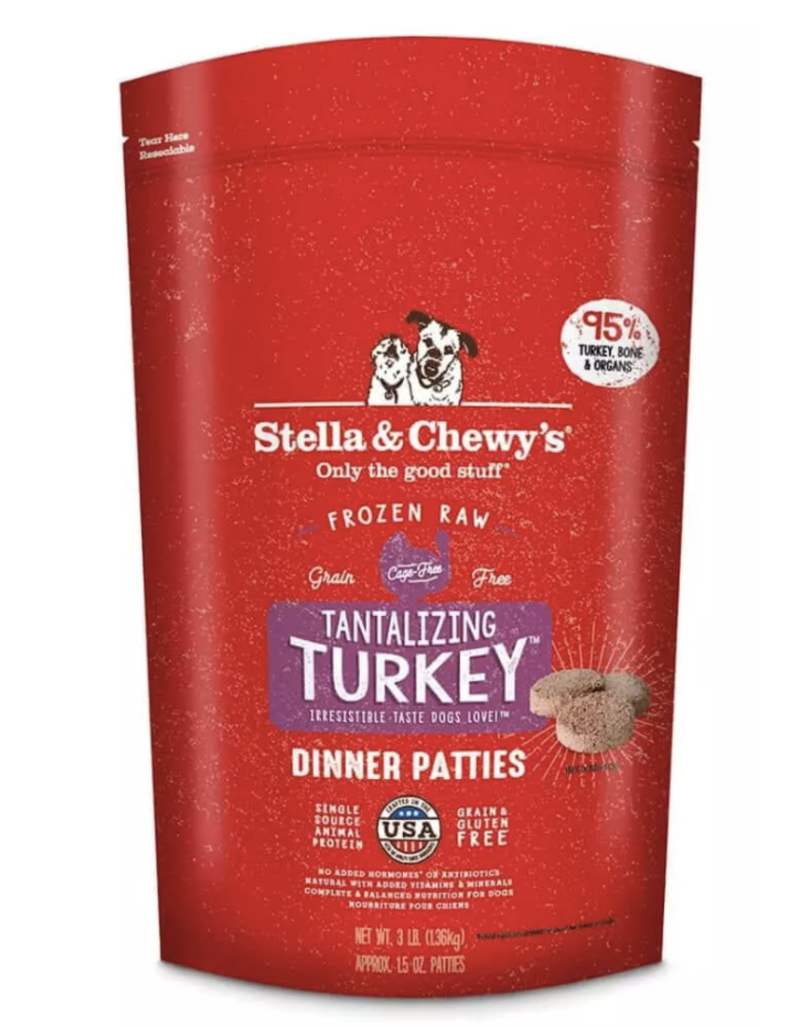 Stella & Chewys Stella and Chewy's Frozen Turkey Raw Patties 3 lb bag