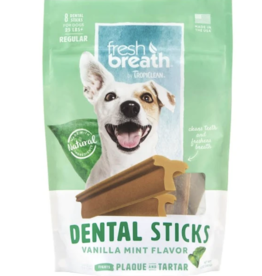TropiClean TropiClean Fresh Breath Advanced Cleaning Rawhide-Free Regular Dental Dog Treats, 8 count