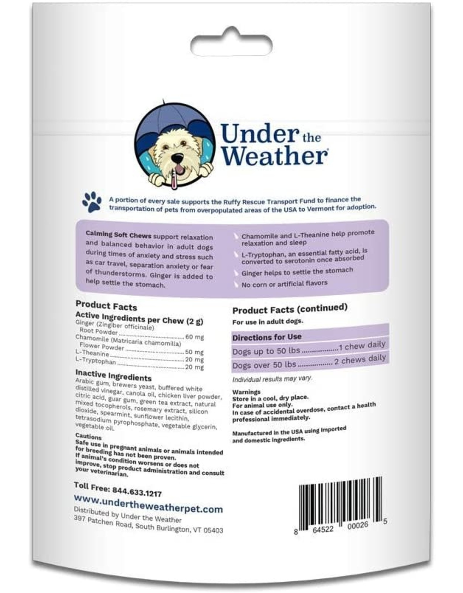 Under the Weather Calming Soft Chews For Dogs