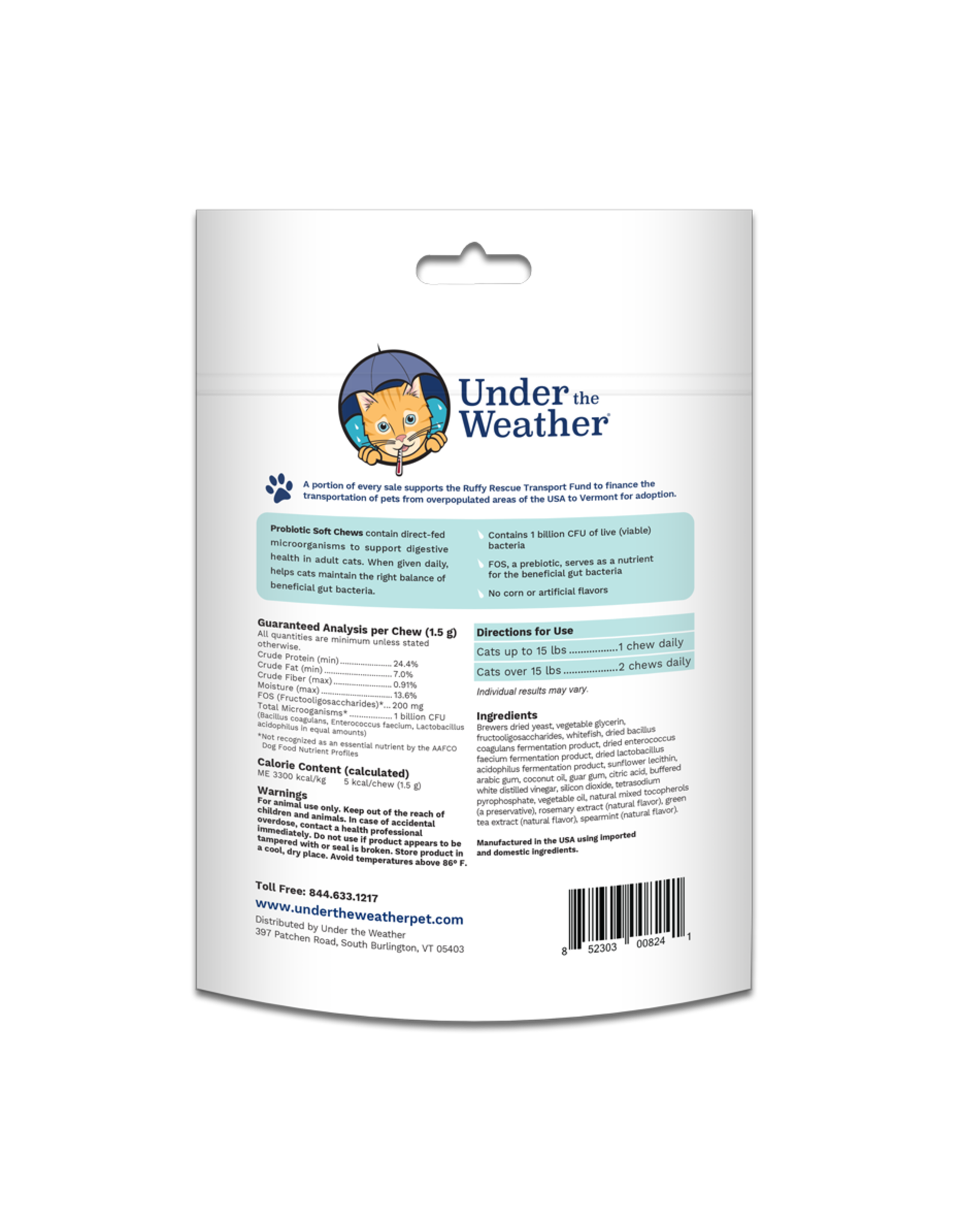 Under the Weather Probiotic Soft Chews For Cats