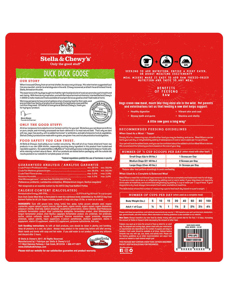 Stella & Chewy's Duck Duck Goose Meal Mixers Freeze-Dried Raw Dog Food