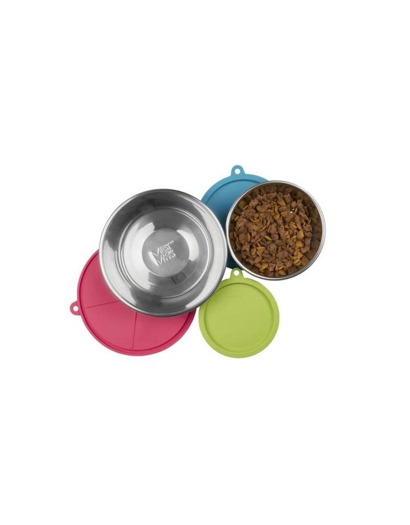 Messy Mutts 6pc Food Prep Set with 3 Stainless Steel Bowls and 3 Silicone Lids