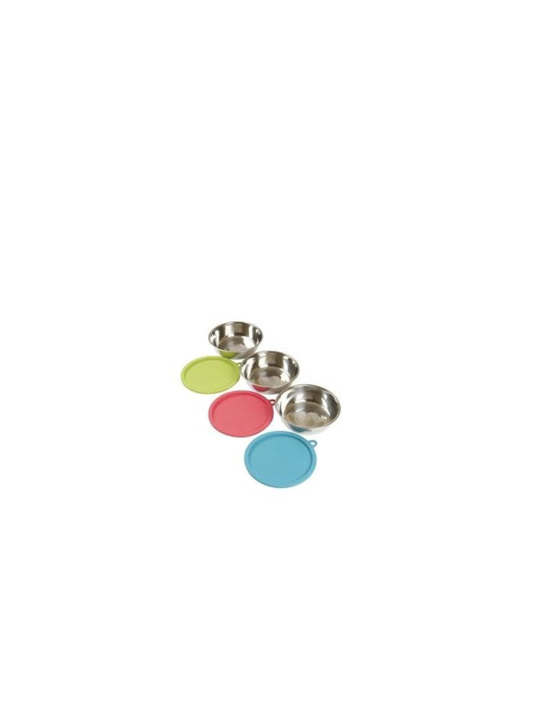 6pc Food Prep Set with 3 Stainless Steel Bowls and 3 Silicone Lids