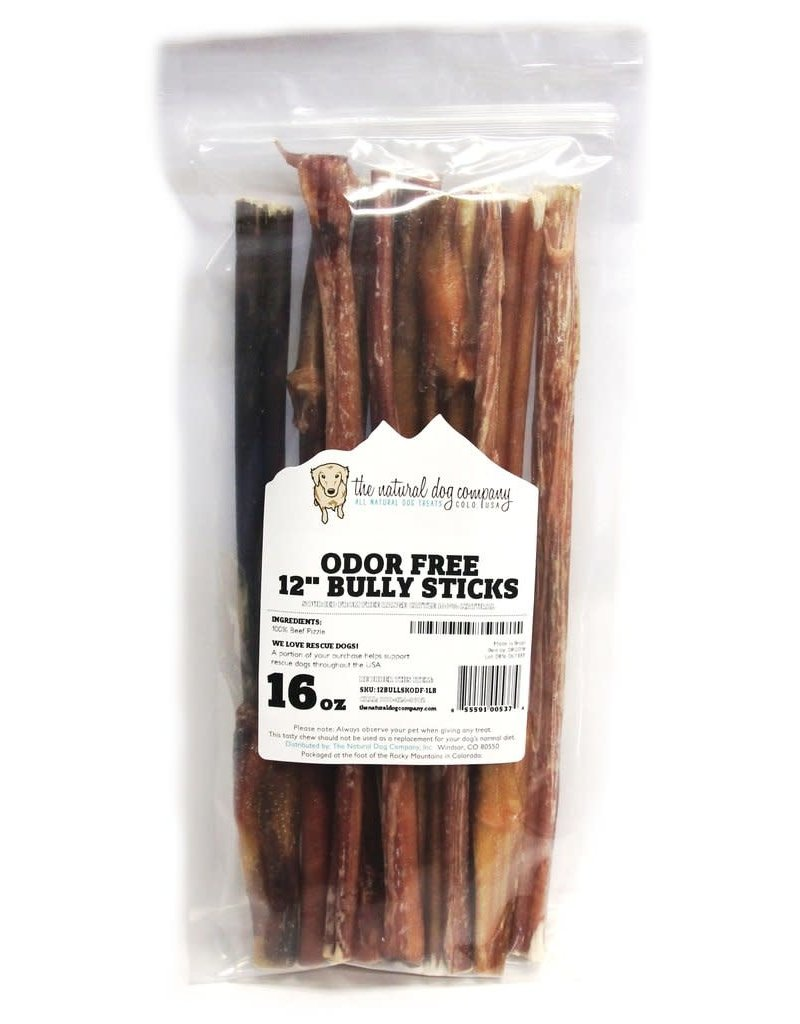 The Natural Dog Company 12in Standard Bully Sticks - Odor Free