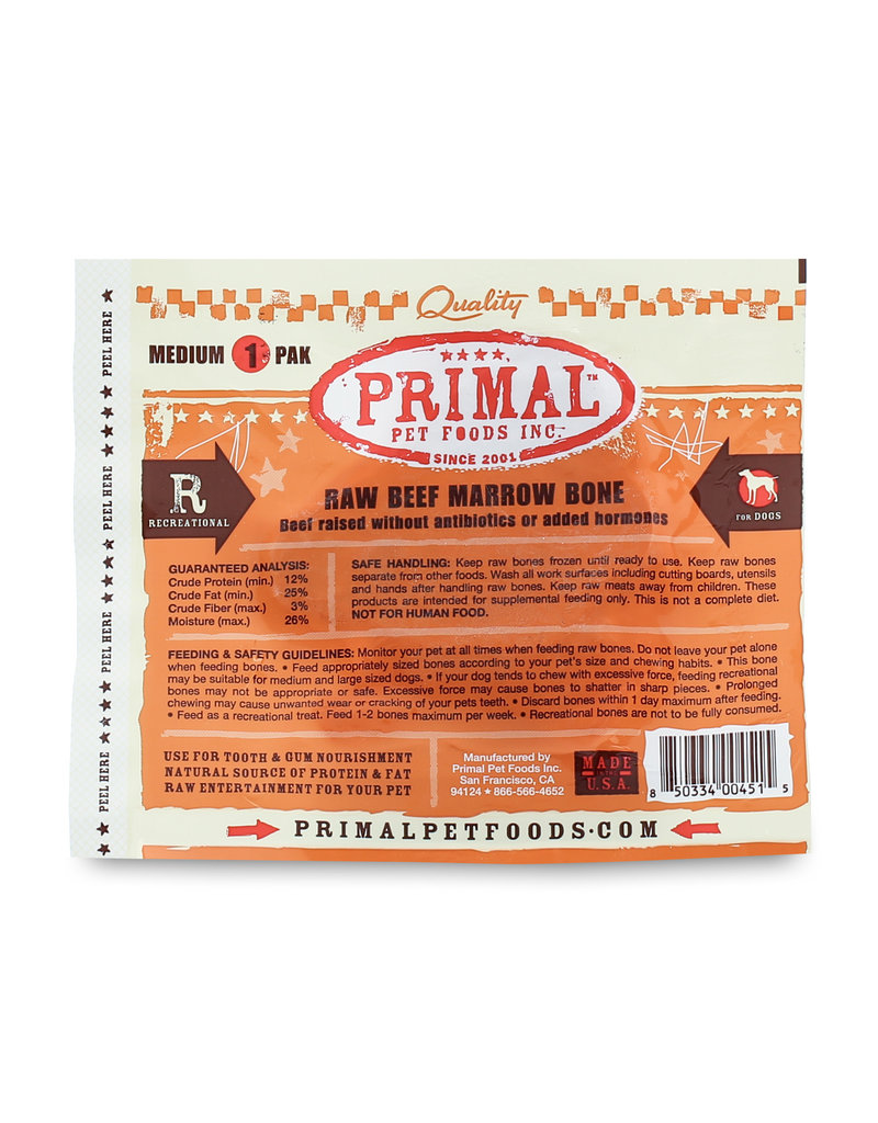 Primal Pet Foods Primal Frozen Raw Meaty Bones Beef Marrow Bone