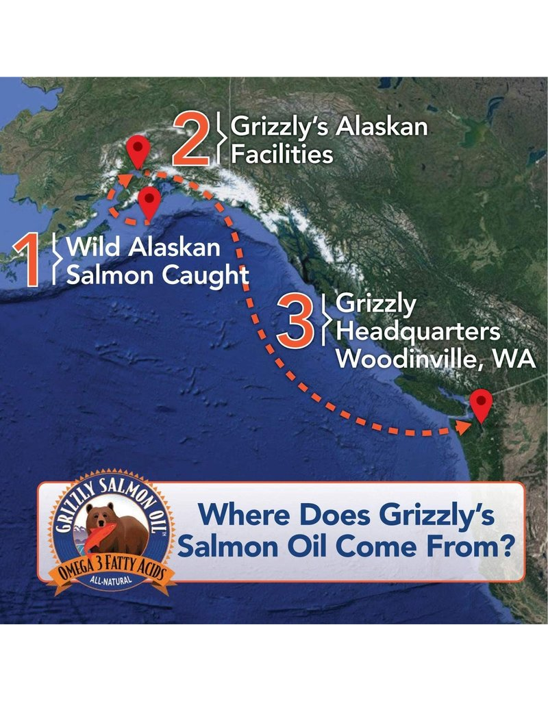 Grizzly All-Natural Wild Caught Alaskan Salmon Oil Dog Food Supplement