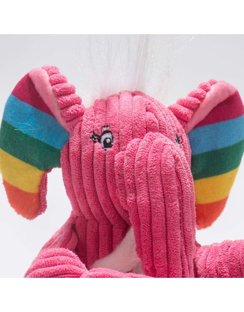 HuggleHounds Rainbow Elephant Knottie Plush Toy