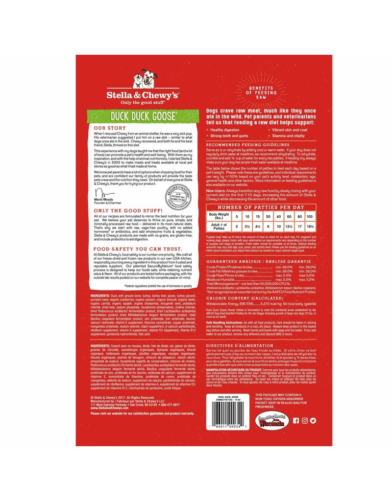 Stella & Chewy's Duck Duck Goose Dinner Patties Freeze-Dried Raw Dog Food