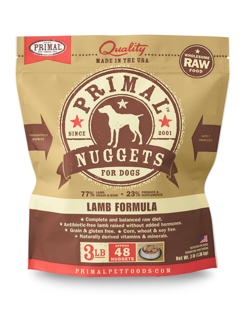 Primal Pet Foods Raw Frozen Canine Lamb Formula 3lb
