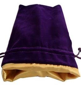 Metallic Dice Games Purple Velvet Dice Bag with Gold Satin