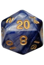 Metallic Dice Games Combo Attack Blue/White w/ Gold Numbers 35mm Mega Acrylic d20