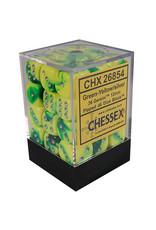 Chessex Gemini Green-Yellow/silver 12mm d6 Dice Block