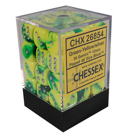 Chessex Gemini Green-Yellow/silver 12mm d6 Dice Block