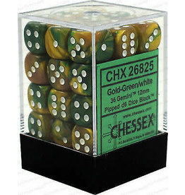 Chessex Gemini Gold-Green/white 12mm d6 Dice Block