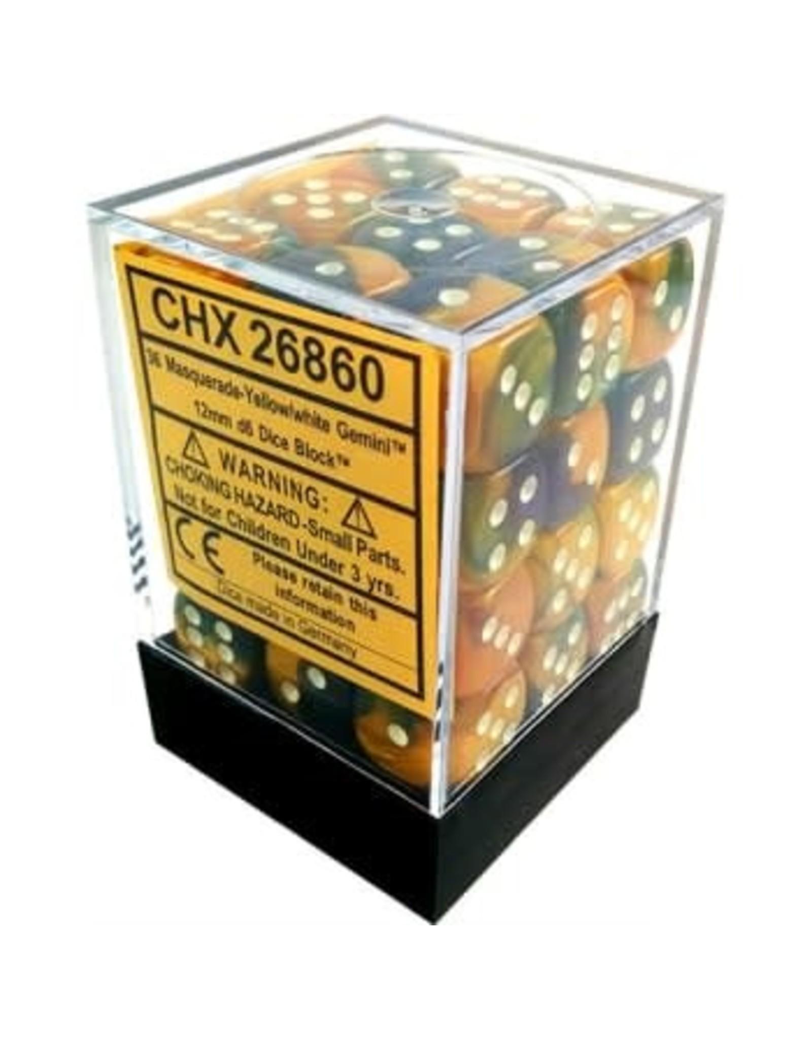 Chessex Gemini Masquerade Yellow/white 12mm d6 Dice Block