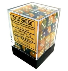 Chessex Gemini Masquerade Yellow/white 12mm d6 Dice Block