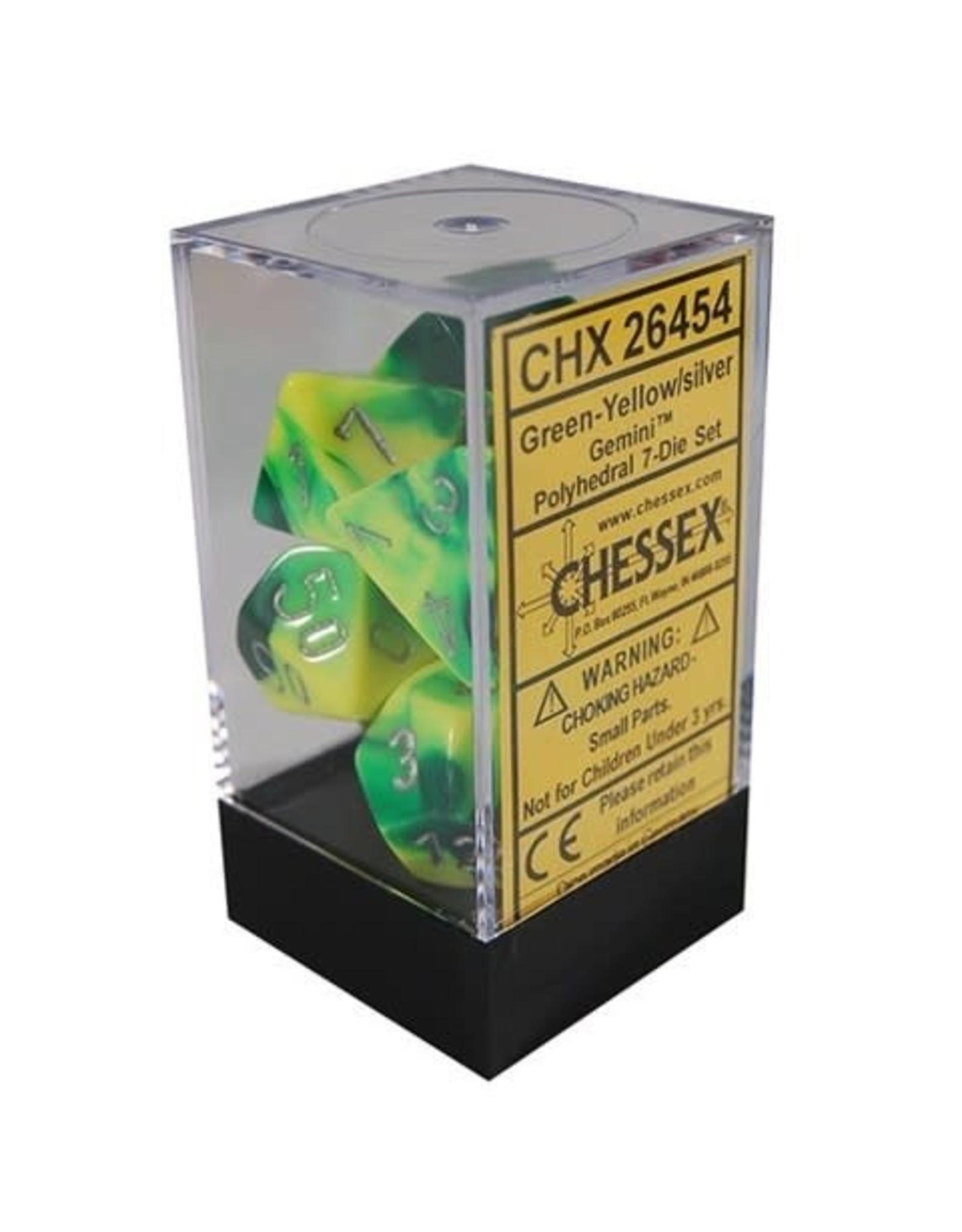 Chessex Gemini Green-Yellow w/silver Polyhedral 7-Die Set