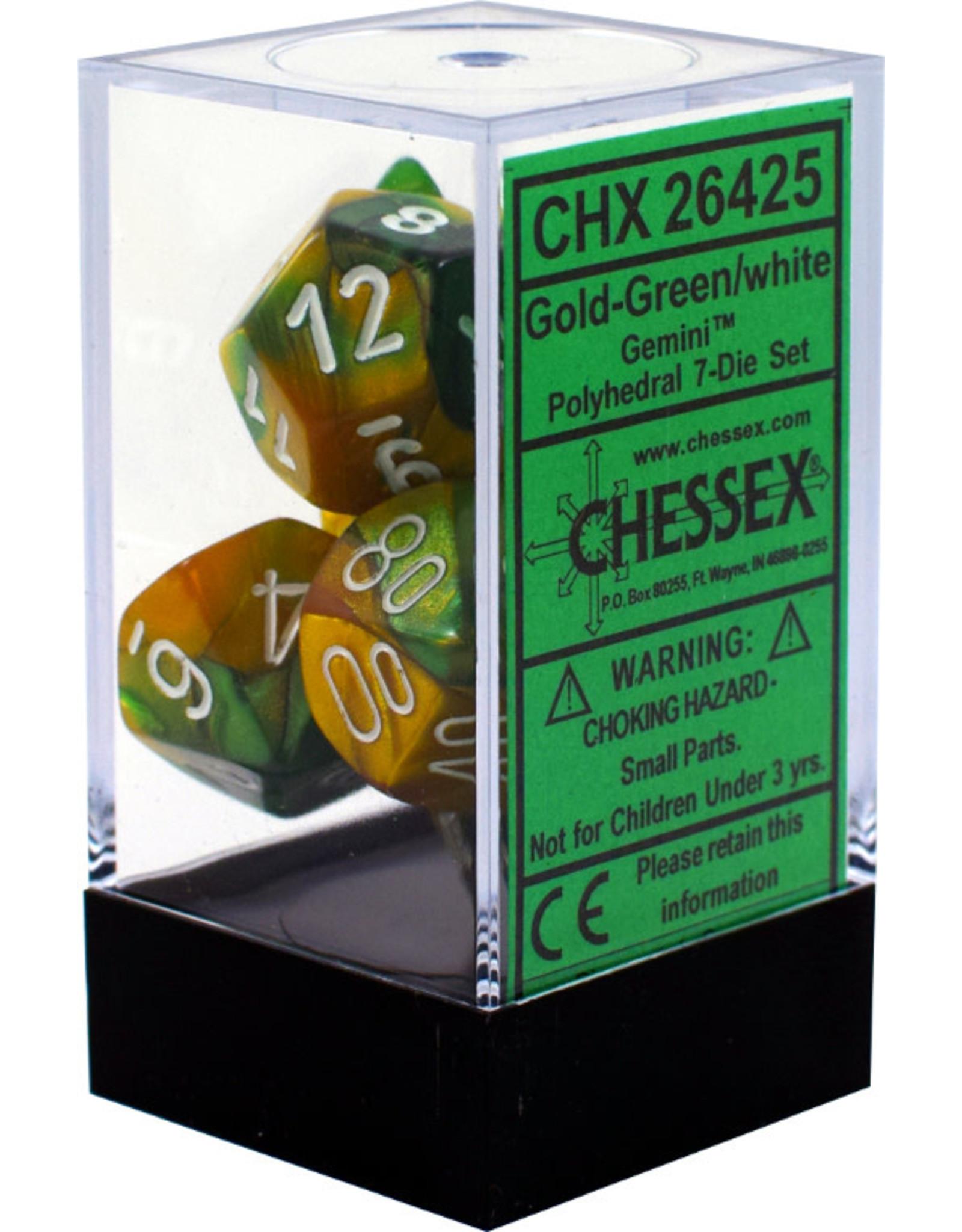 Chessex Gemini Gold-Green/white Polyhedral 7-Die Set