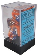 Chessex Gemini Blue-Orange w/white Polyhedral 7-Die Set