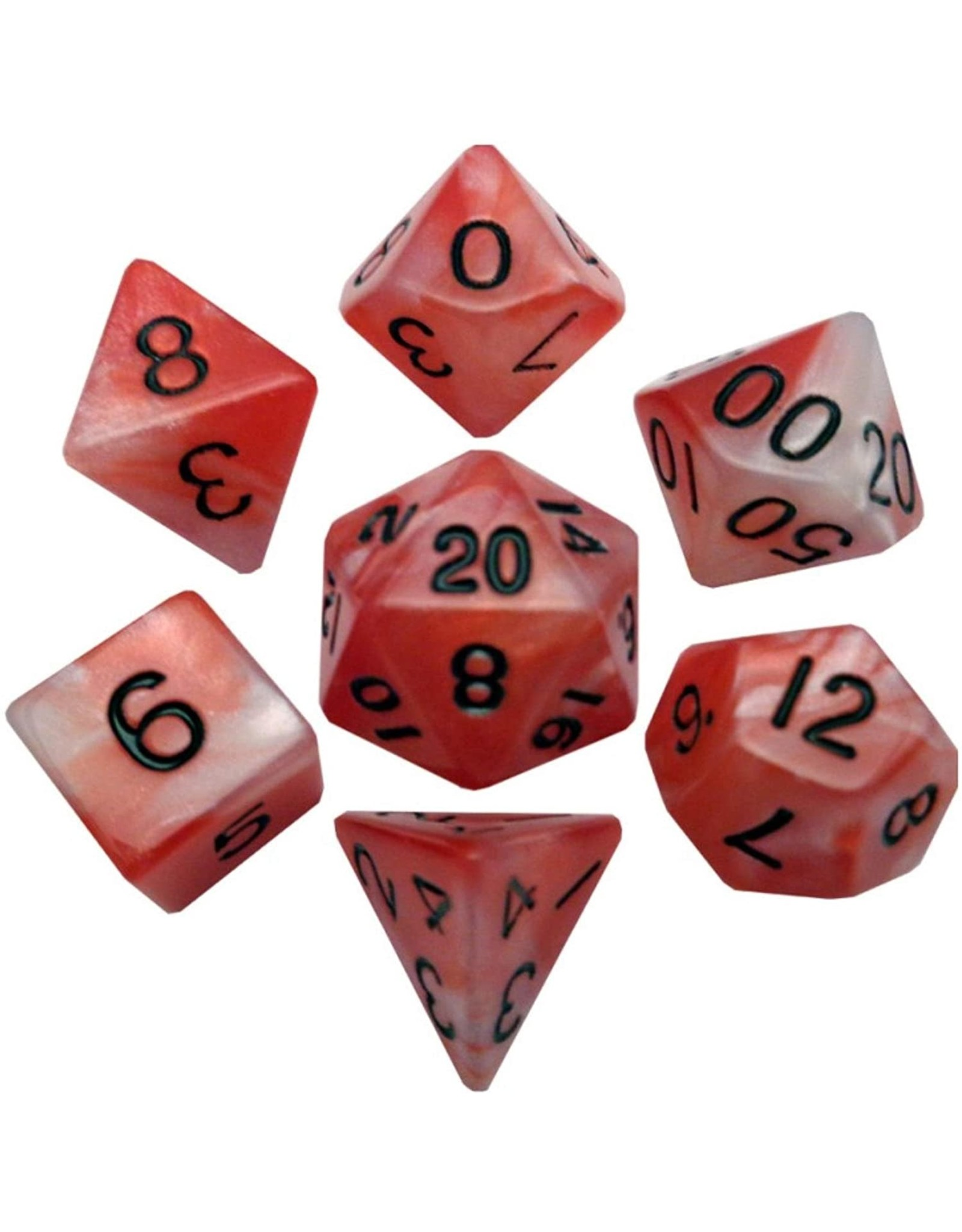 Metallic Dice Games 16mm Polyhedral Dice Set Combo Attack Red/White w/ Black Numbers