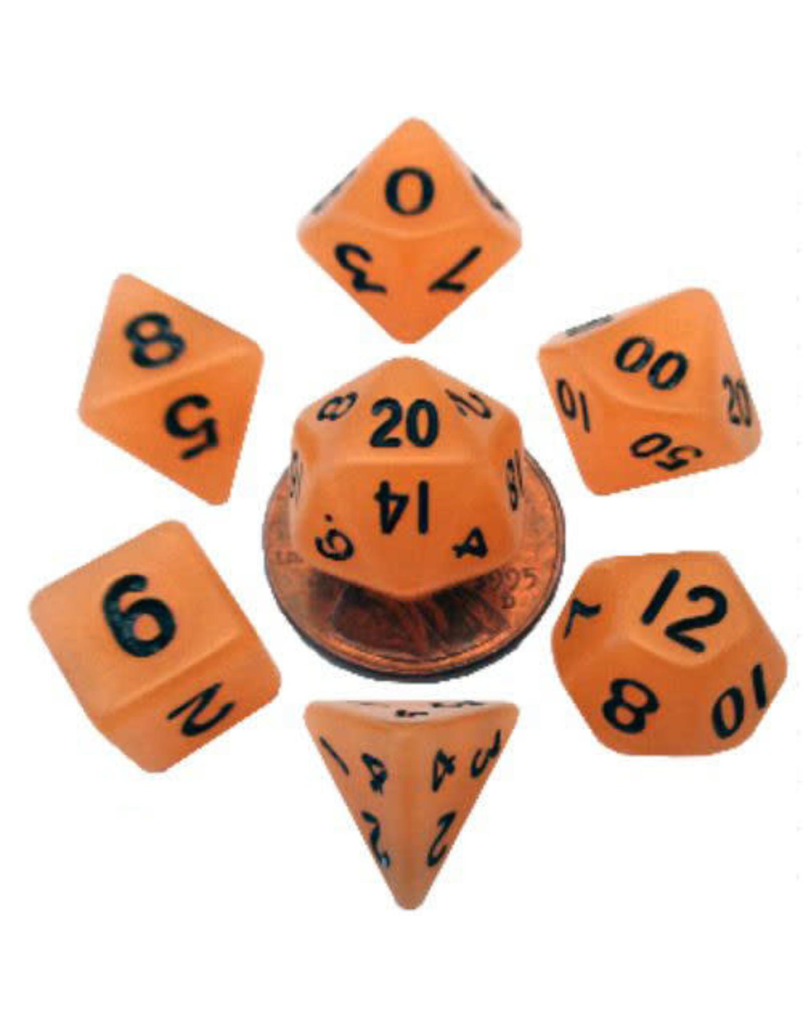 Metallic Dice Games 16mm Polyhedral Dice Set Glow Orange