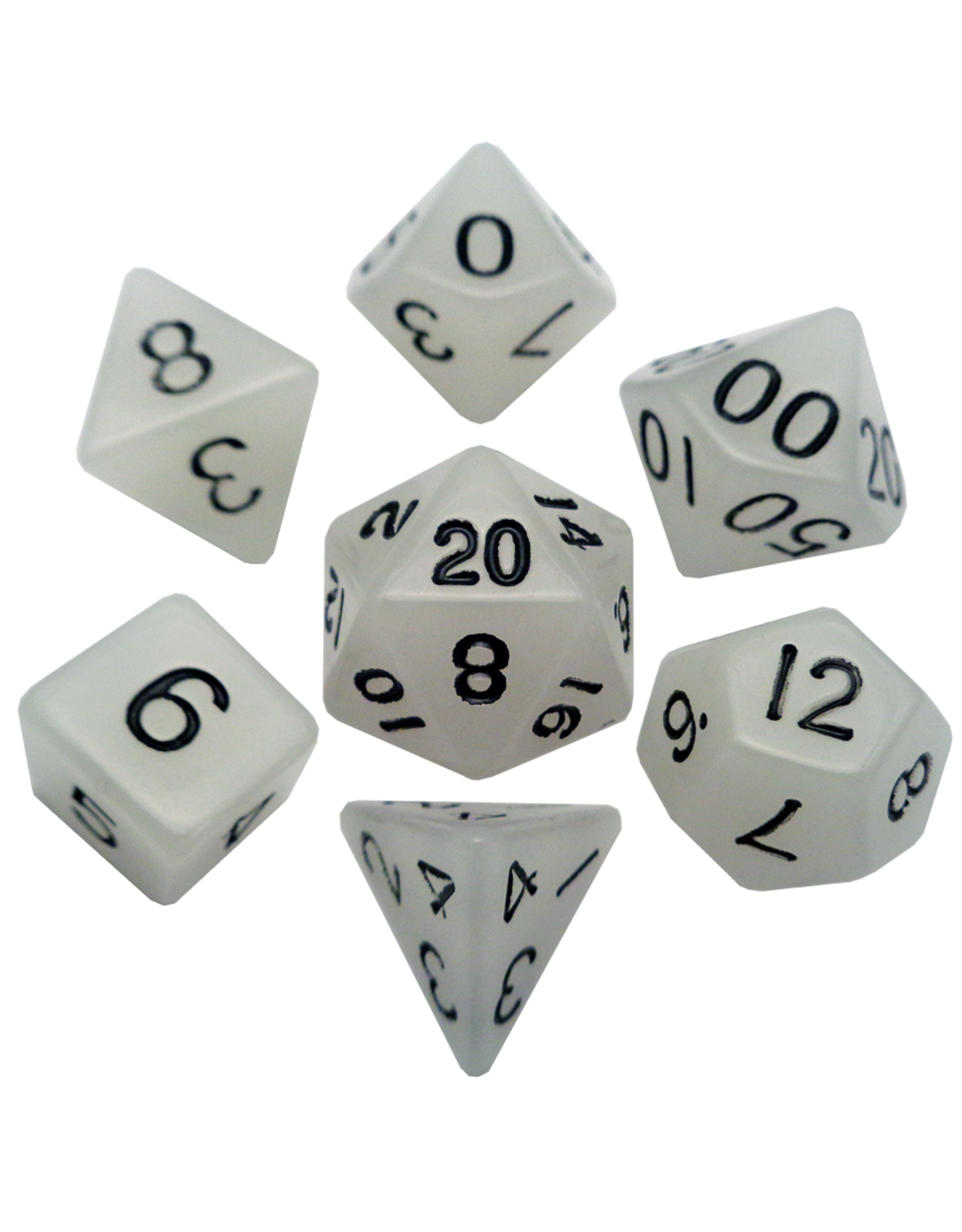 Metallic Dice Games 16mm Polyhedral Dice Set Glow Clear