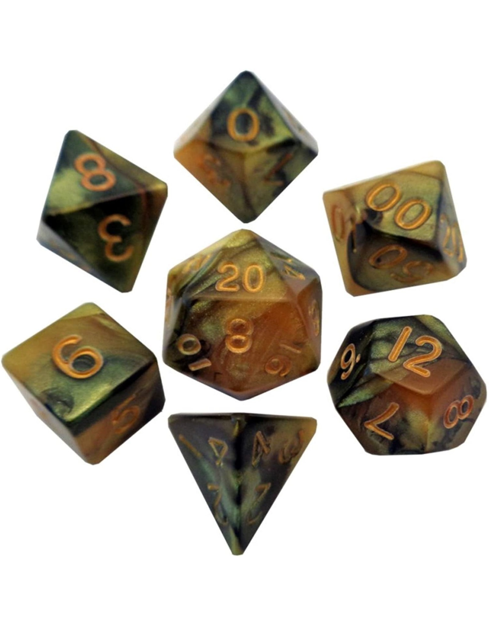 Metallic Dice Games 16mm Polyhedral Dice Set Combo Attack Black/Yellow w/ Gold Numbers
