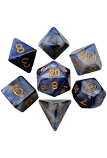 Metallic Dice Games 16mm Polyhedral Dice Set Combo Attack Blue/White w/ Gold Numbers