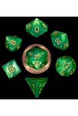 Metallic Dice Games 16mm Polyhedral Dice Set Combo Attack Green/LightGreen w/ Gold Numbers