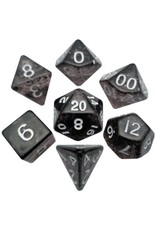 Metallic Dice Games 16mm Polyhedral Dice Set Ethereal Black w/ White Numbers