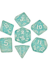 Metallic Dice Games 16mm Polyhedral Dice Set Ethereal Light Blue w/ White Numbers